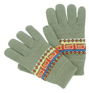 Green gloves with Aztec pattern