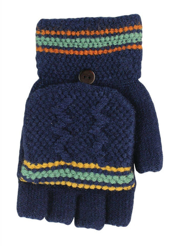 Fingerless gloves with mitten cap