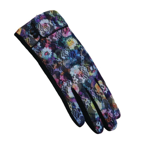 Retro style floral lace gloves with knit palms