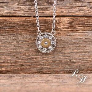 'Round Rebel' Clear Crystals & Bullet Necklace