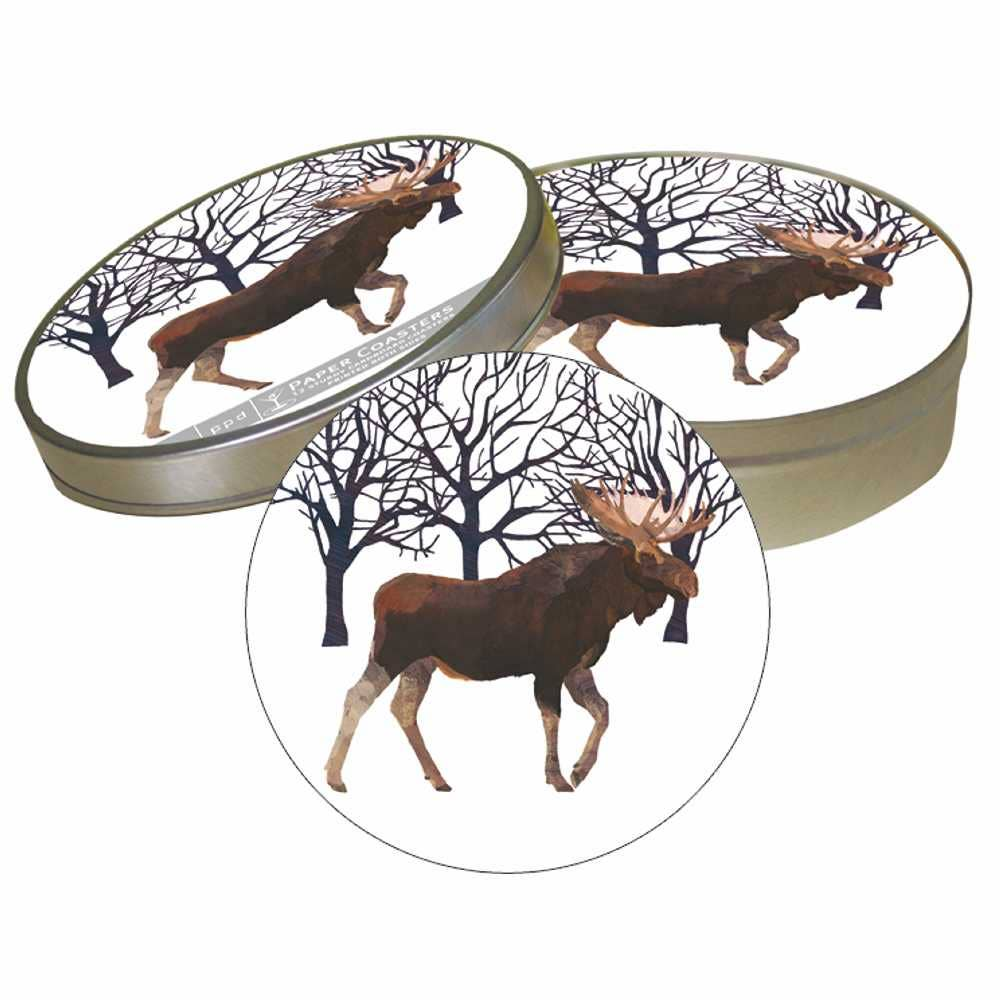 PULPBOARD COASTER SET- WINTER MOOSE