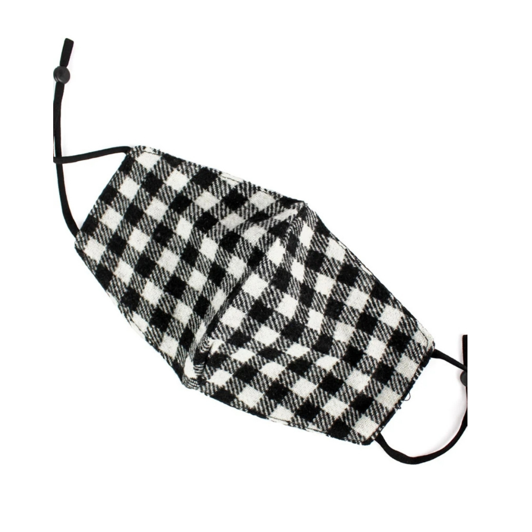 Black and White Check Flannel Face Mask with Filter Pocket