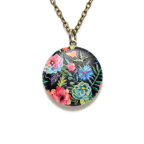 "Vibrant Floral Locket on 24"" Chain 