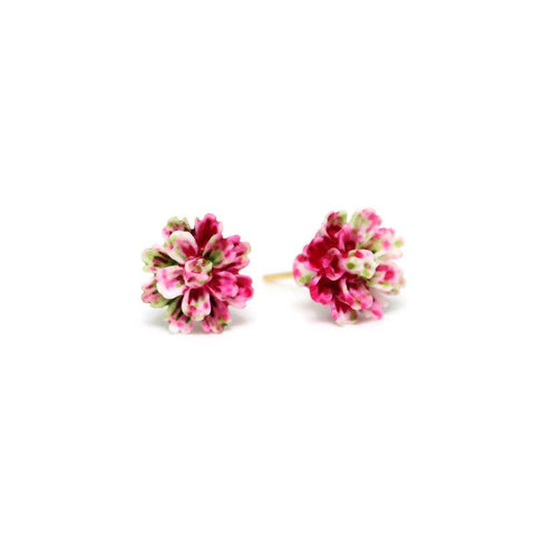 Pink, White and Green Flower Stud Earrings