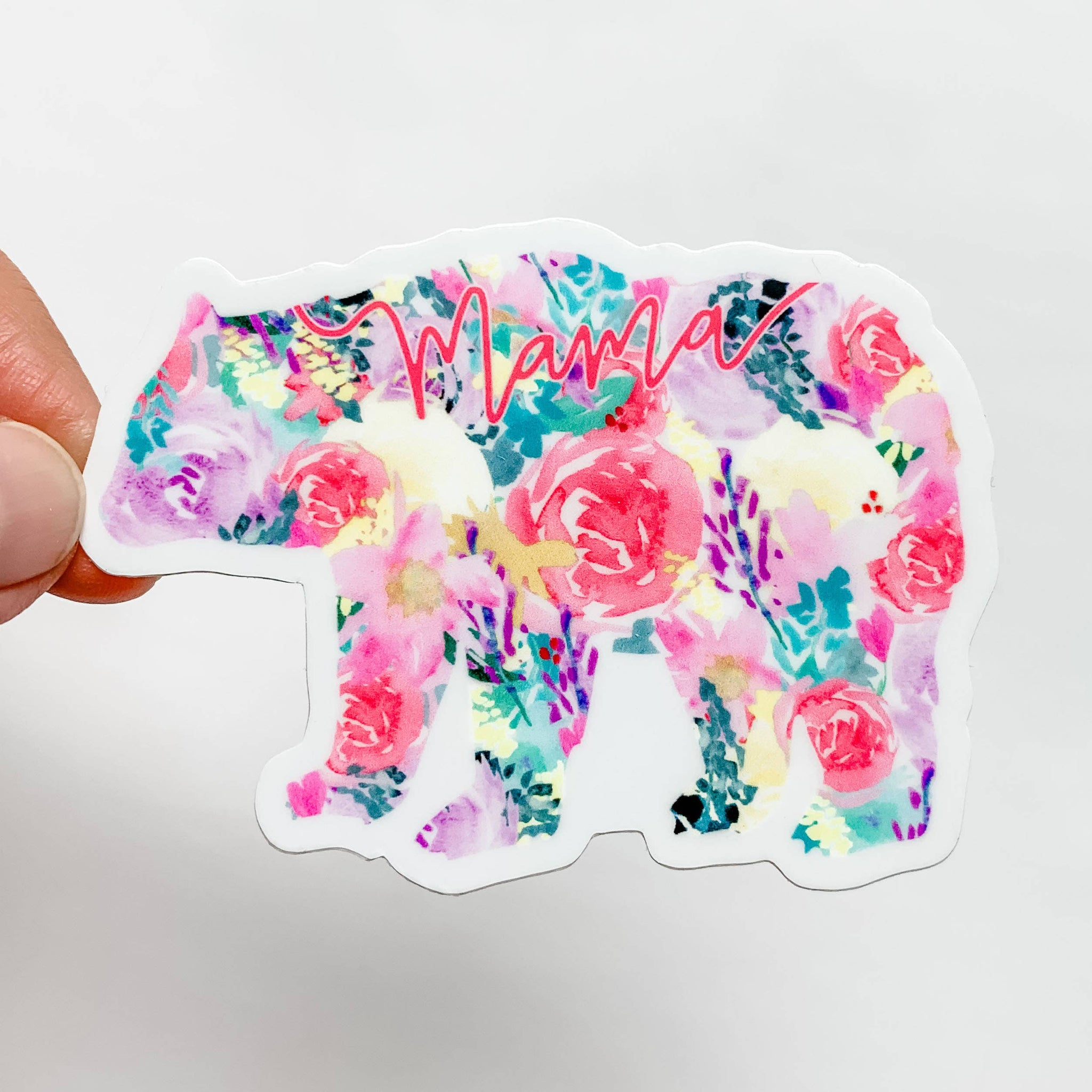 Mama Bear Bright Floral Sticker Decal