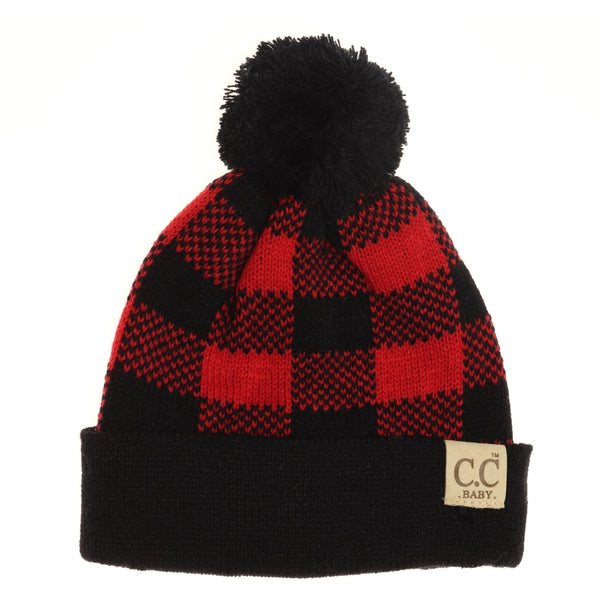 Baby Beanie with Pom- Buffalo Plaid in Assorted Colors
