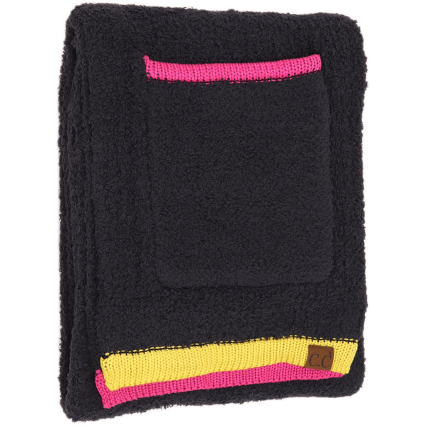 Super Soft Color Blocked Sherpa Scarf with pockets!!!!!