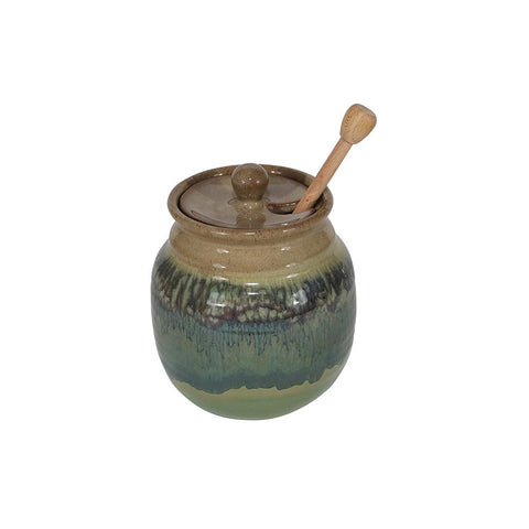 Handmade Pottery Honey Pot with Stick/Dipper