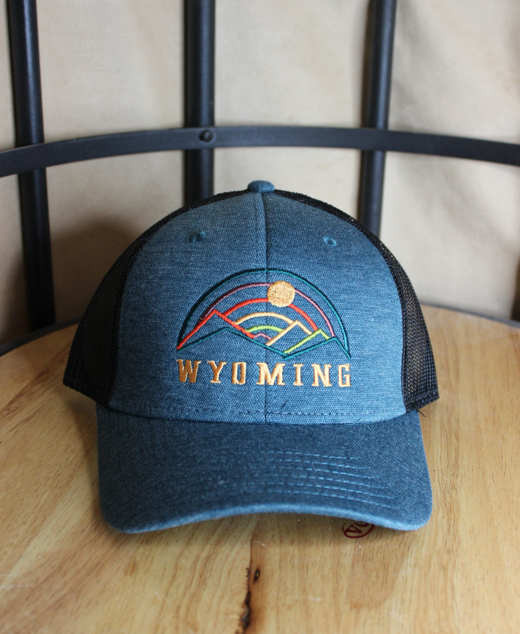 Threaded Mountains Trucker Hat- dark teal and black