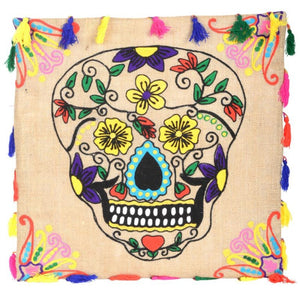Embroidered Dia de los Muertos Pillow