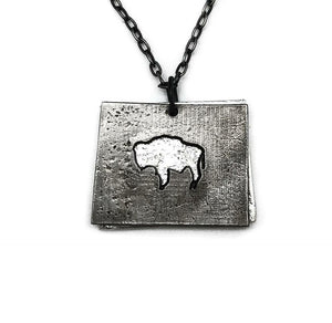 Pewter Wyoming Buffalo necklace