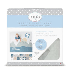 Mountain Themed Baby's First Year Muslin Blanket & Card Set