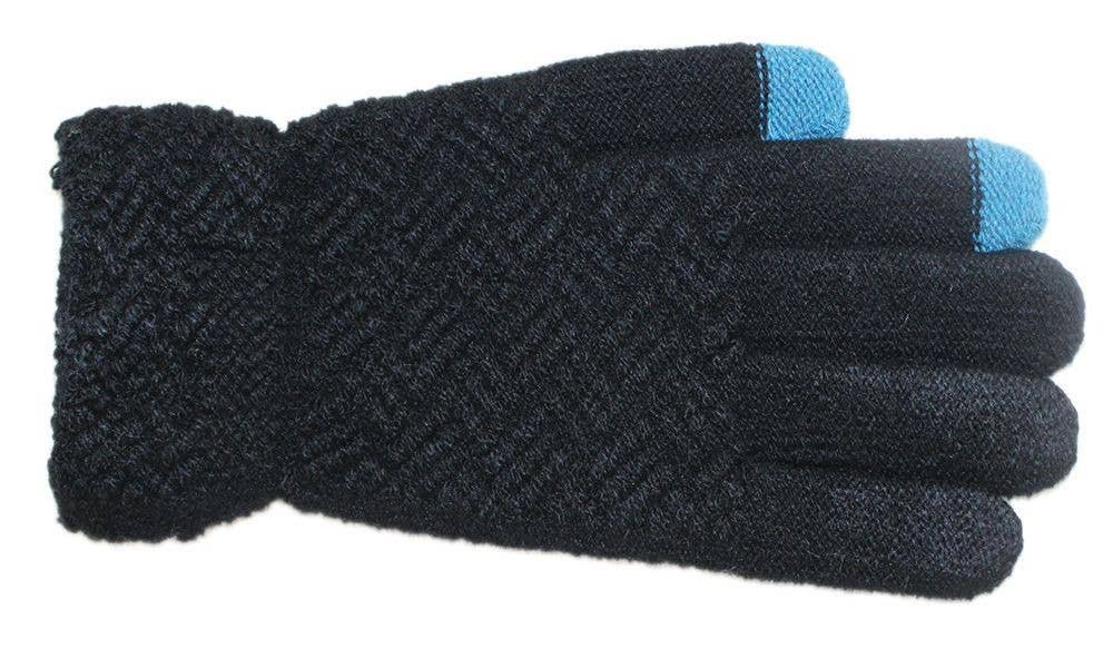 Criss cross knit gloves- black with blue tips