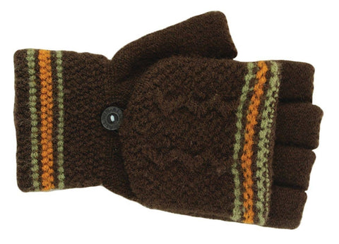 Knit brown fingerless gloves with mitten cap