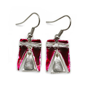 Handmade Pewter Earrings with Color Enamel