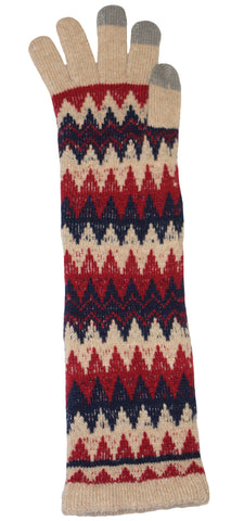 Tan, red and blue arm warmer gloves
