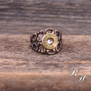 Romantic Copper & Pink Scroll Ring