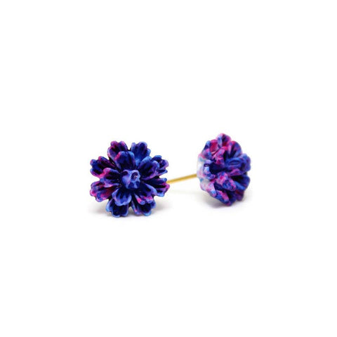 Blue, Purple and Pink Flower Stud Earrings