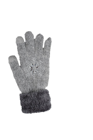 Gray fuzzy gloves with jeweled detail