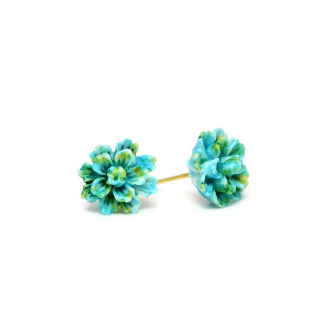 Turquoise, Yellow and Green Flower Stud Earrings