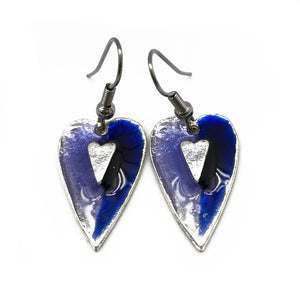 Pewter Earrings with Color Enamel