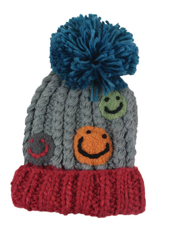 Knit Happy Face Beanie- Kid's Large