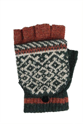 Knit rust fingerless gloves with mitten cap