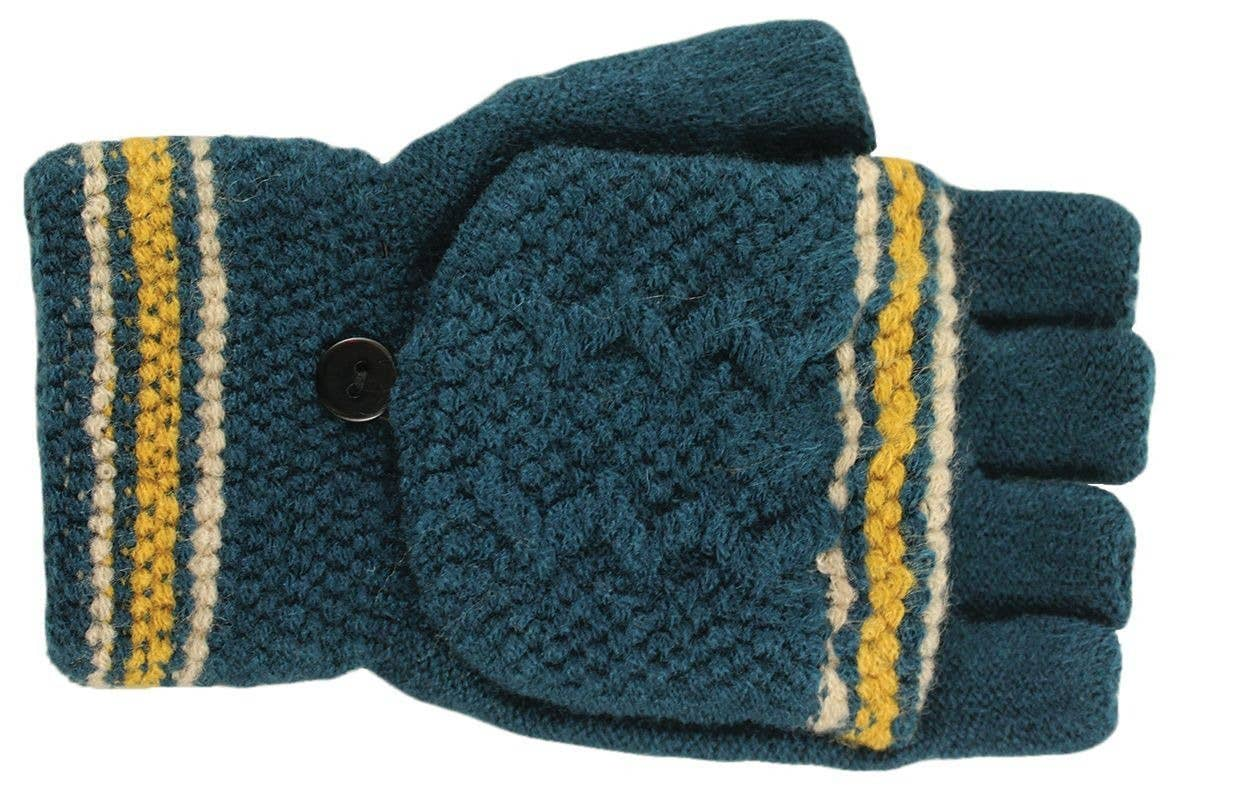Knit teal fingerless gloves with mitten cap