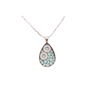 'Teardrop' Silver Bullet & Aqua Necklace