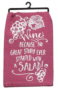 Funny Dish Towel- Wine not salad