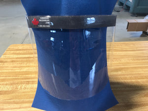 "We are making vinyl face shields out of our office in Belmont, Ontario. We have tons in stock and are able to accommodate any order sizes.  Price: $12.95 each or $10.95 each on minimum order of 50 (discount automatically applied at checkout).  Product Details: Shield - Clear Vinyl Forehead Cushion - Foam Strap - Adjustable Velcro   Dimensions:  12"" W, 8"" H (SMALL) 15.5"" W, 9"" H (LARGE)"