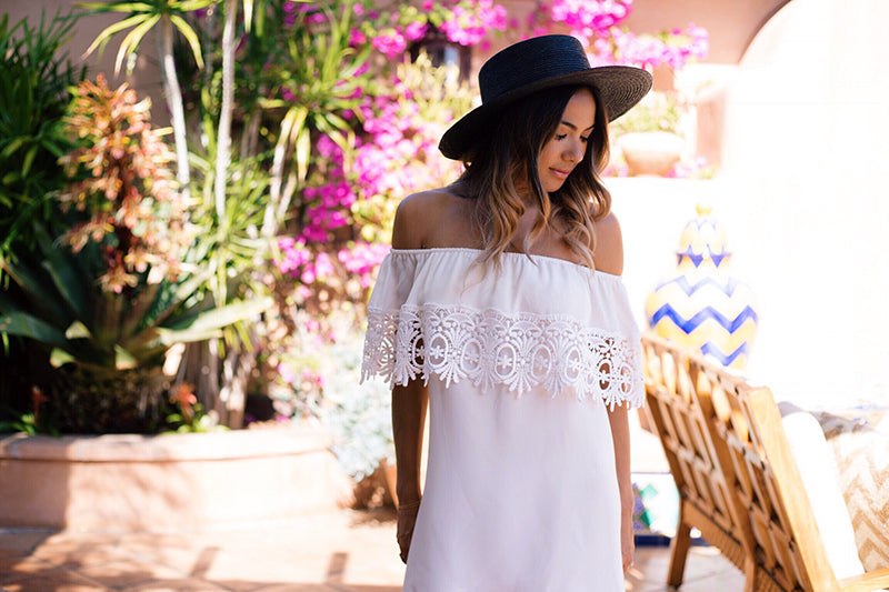 White Lace Off The Shoulder Dress, Stone Cold Fox Bonita Dress, Del Mar Opening Day Outfit
