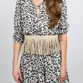 leopard fringe dress, auguste, festival dress