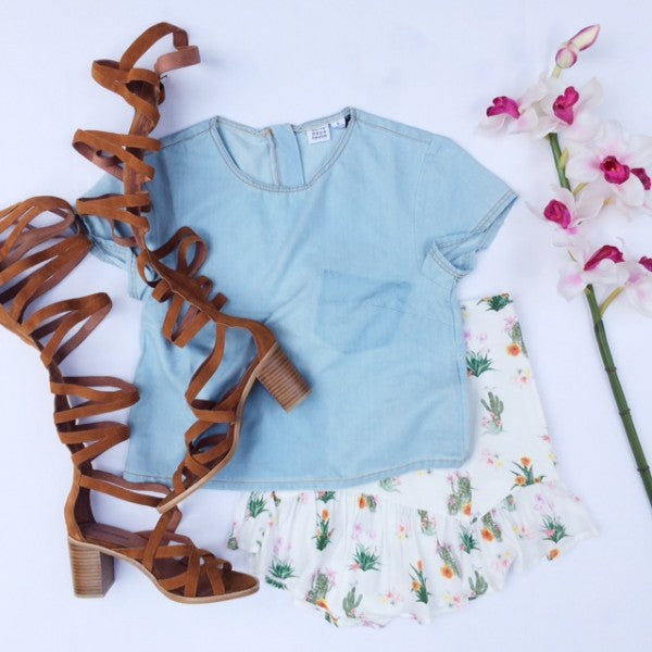 Day Look Cactus Skirt Chambray and Gladiator Sandals