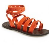 orange gladiator sandal, free people, festival trends