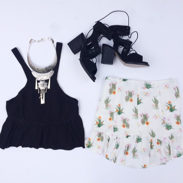Night Look Cactus Skirt and Tank with Black Heels