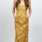 gold print dress, novella royale, festival dresses