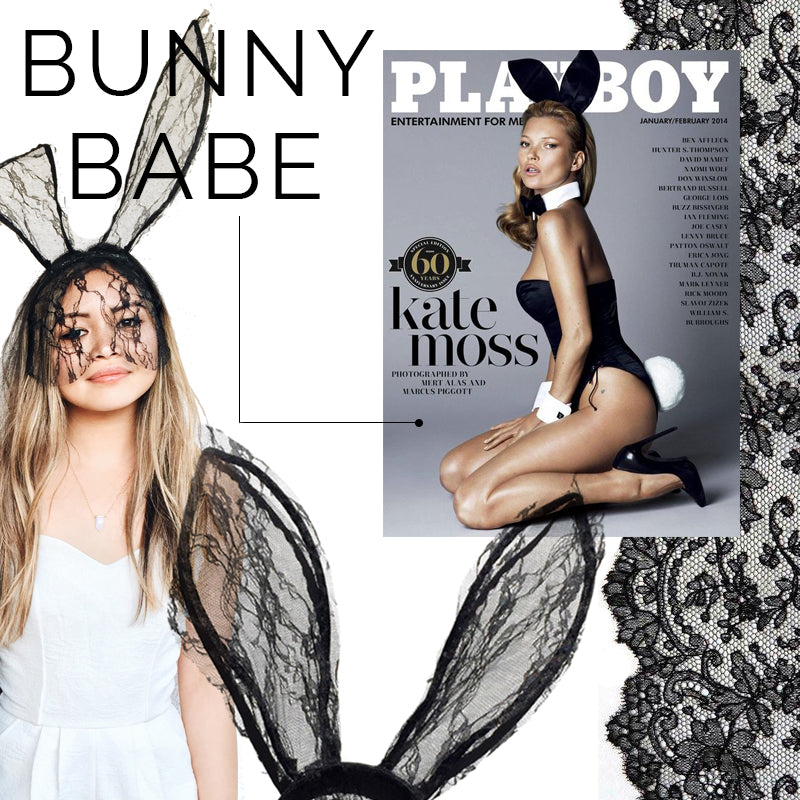 playboy bunny costume DIY, lace bunny ears, MLM romper