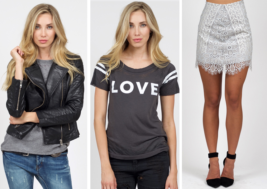 chaser graphic tee, bb dakota leather jacket, for love and lemons lace skirt