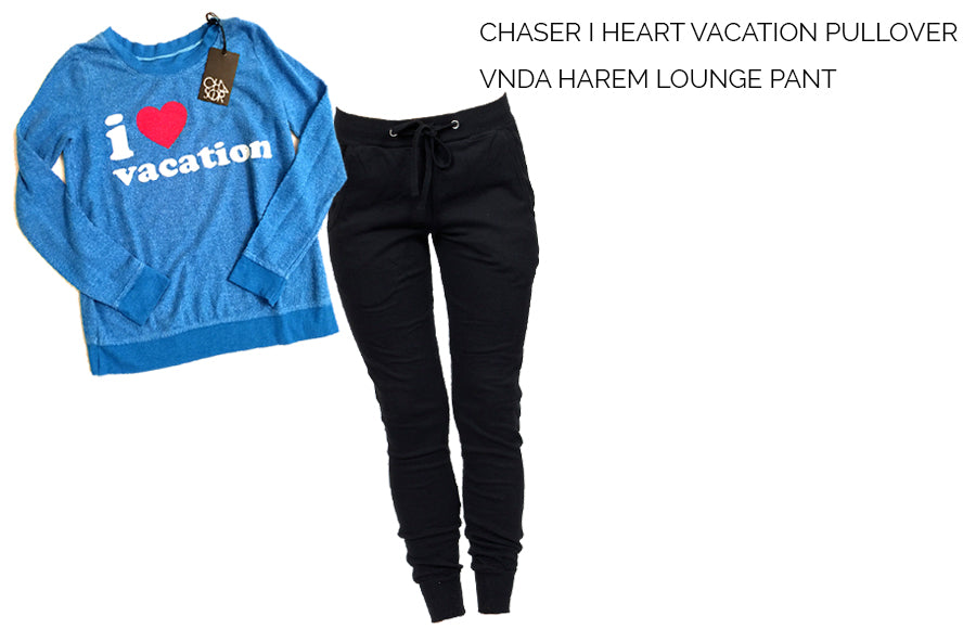 Chaser I Heart Vacation Tee, VNDA Harem Jogger Pants, travel outfit, airport outfit