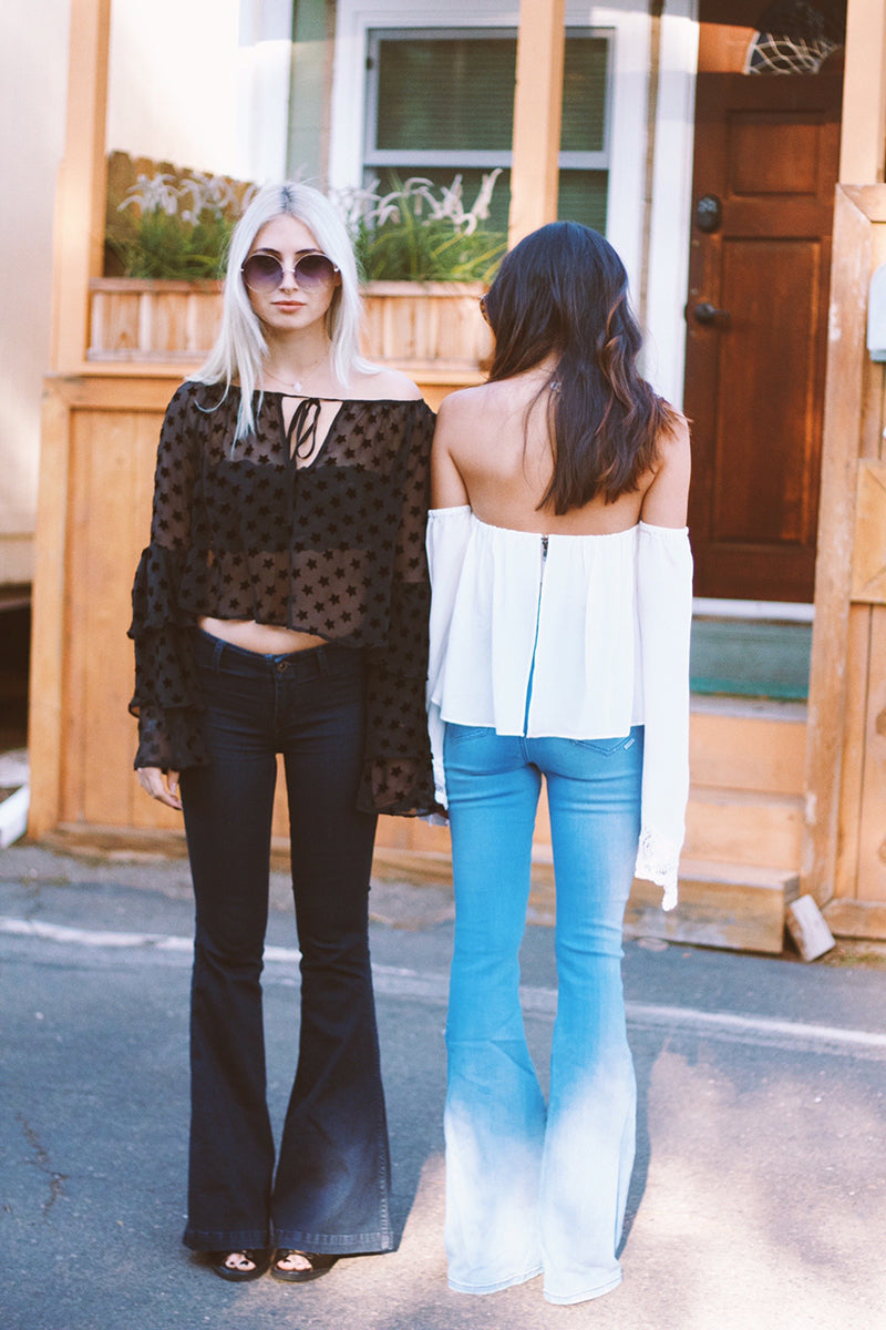 Free People Jolene Flare Jeans, Stone Cold Fox Taurus Blouse,