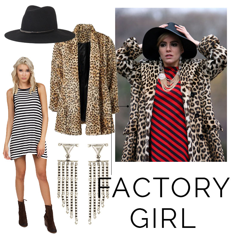 Edie Sedgwick, Factory Girl, DIY Halloween Costume, Leopard Swing Coat