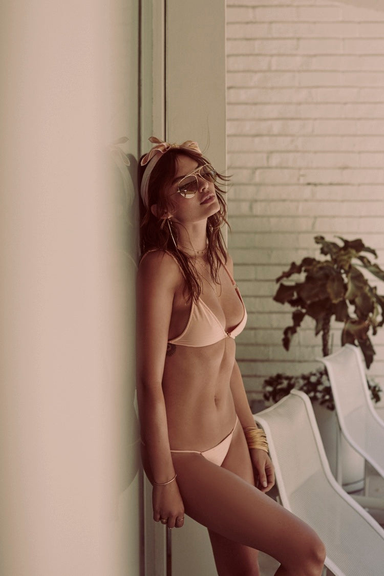 For Love and Lemons Swim, Tiny Tan Lines Triangle Top, Tiny Tan Lines Peach Thong