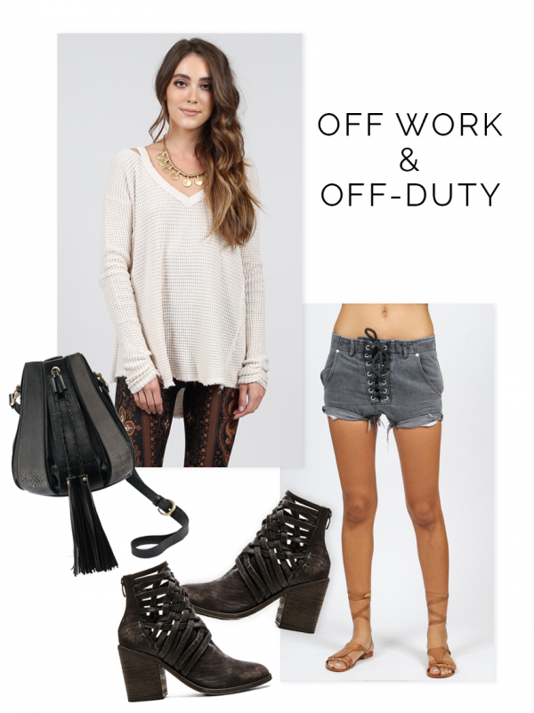 free people boots, free people sweater, one teaspoon shorts, off duty style