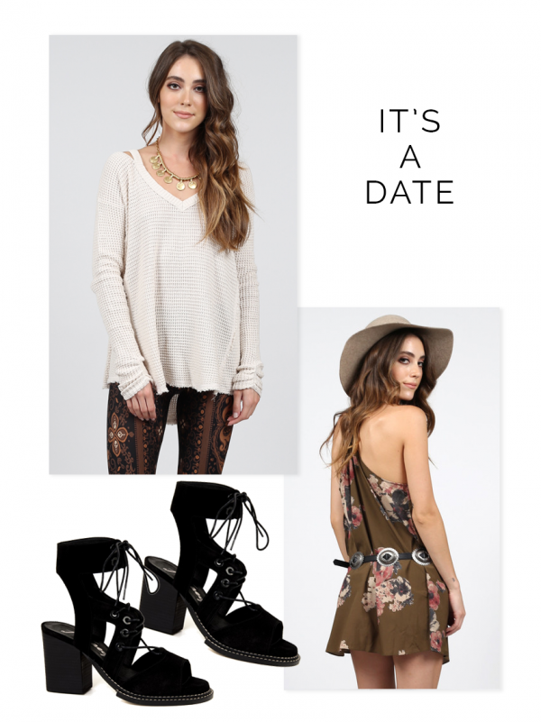 free people, floral dress, date night look