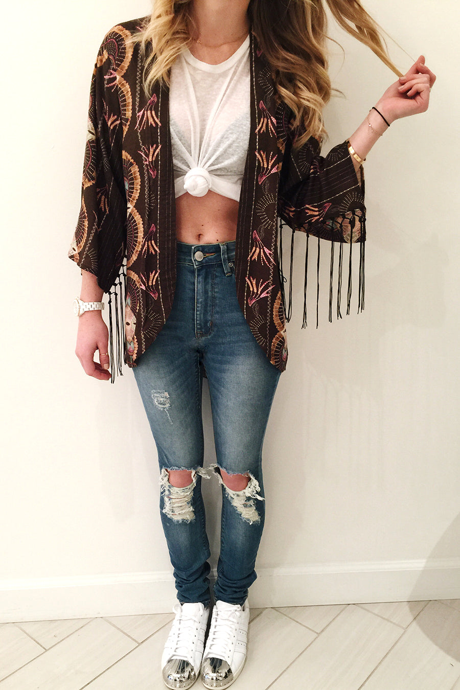 Mate the label Dylan Tank, Cleobella Olivia Kimono, RES distressed denim