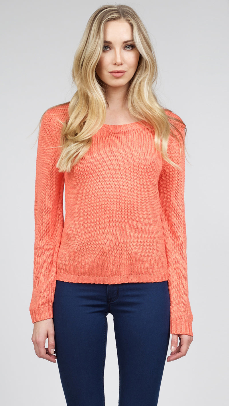 MinkPink Relax Me Cut Out Back Knit Tangerine, RES Kitty Skinny