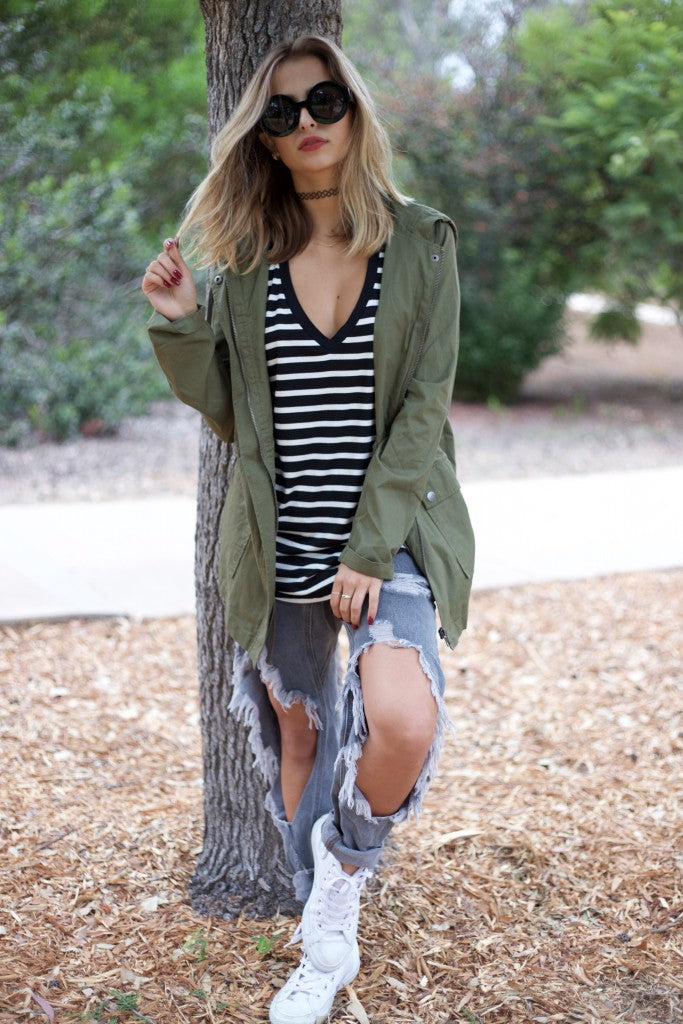 one teaspoon denim, army green jacket, 90's choker