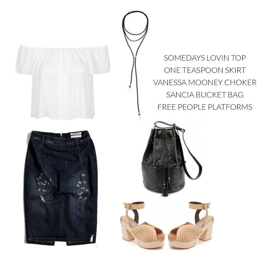 One Teaspoon Cowboy Freelove, denim pencil skirt, Someday's Lovin Off the shoulder top, Vanessa Mooney Suede Wrap Bolo, Free People shoes