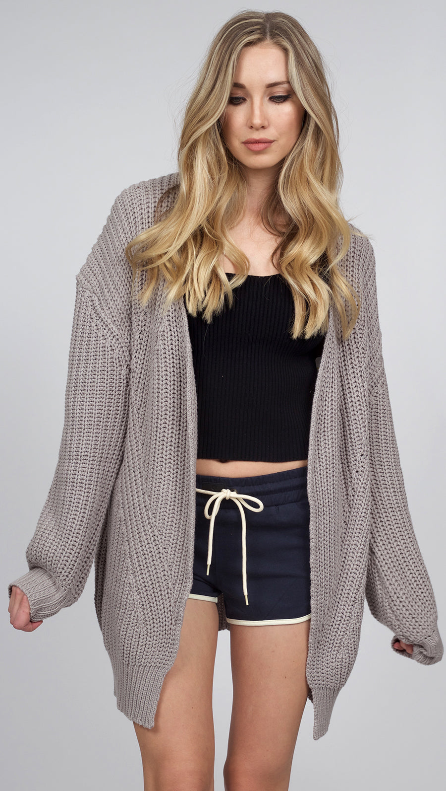 VNDA Benna Shorts, Free People What's Not To Like Cami, Somedays Lovin Shelter Knit Cardigan